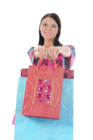 beautiful woman with shopping bags. Isolated on white background Stock Photo - 8496099