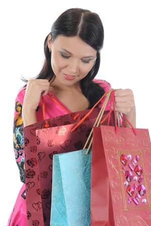 beautiful woman with shopping bags. Isolated on white background Stock Photo - 8496103