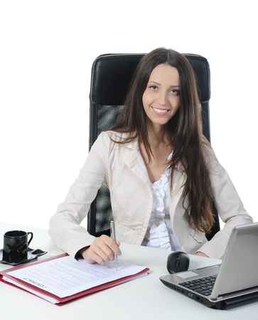 Joyful businesswoman in the office. Isolated on white photo