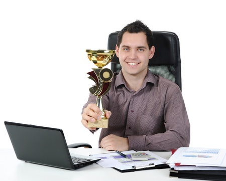 Portrait of a happy businessman with the cup in his hand. Isolated on white background photo