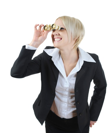 Businesswoman looking through binoculars. Isolated on white background Stock Photo - 8596793