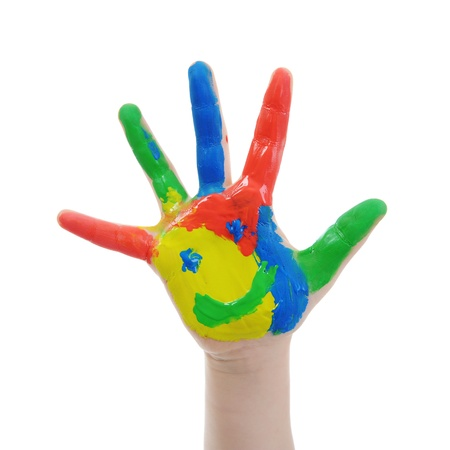 Children's hand in the paint. Isolated on white background Stock Photo - 8596770