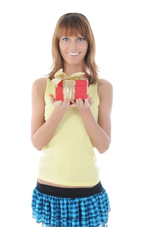smiling woman with a gift box. Isolated on white background photo