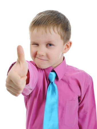 Blond little boy. Isolated on white background Stock Photo - 8734510