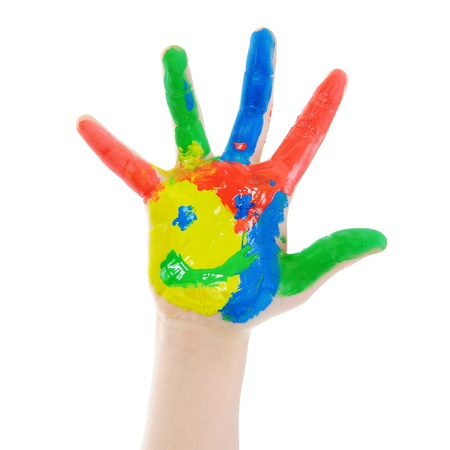 Childrens hand in the paint. Isolated on white background Imagens