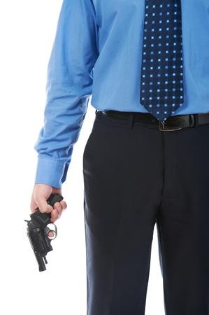 man holding a gun photo