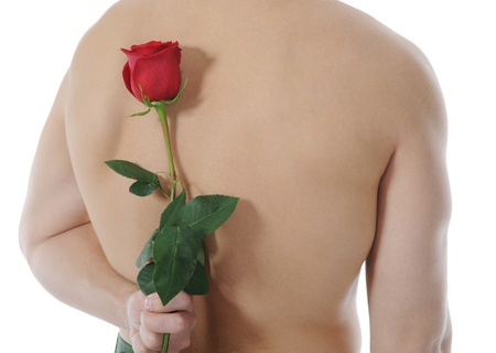 man  holding a red rose Stock Photo - 8734610