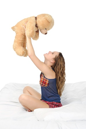Young woman with teddybear Stock Photo - 8734605