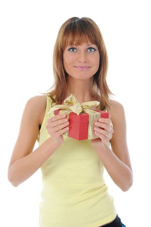 smiling woman with a gift box photo