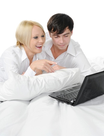 couple with laptop Stock Photo - 8734590