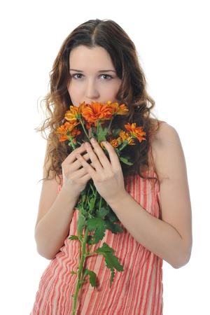 brunette with a flower Stock Photo - 8734612