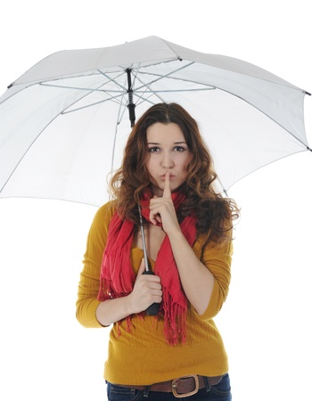 young woman with an umbrella photo
