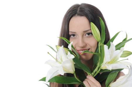 woman with lily photo
