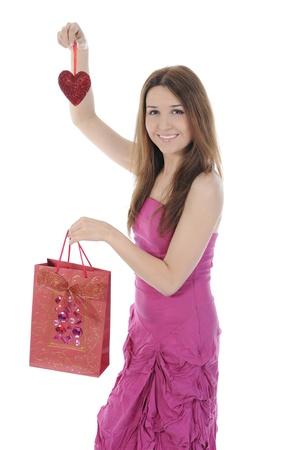 Charming brunette shopping bag photo