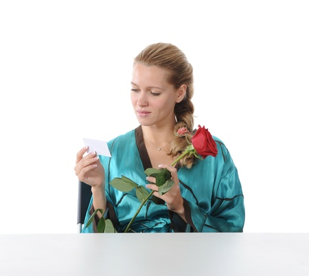 girl reading a love note. photo