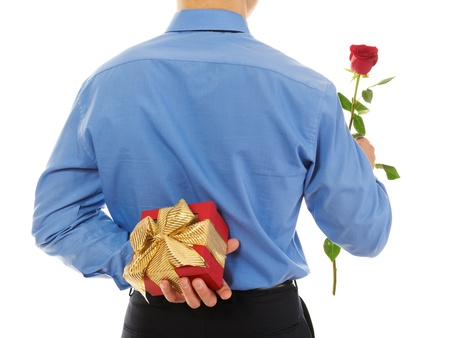 man with a gift box and a rose Stock Photo - 8735321