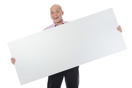 young man holding blank sheet photo