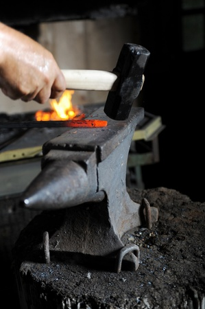 Making a decorative pattern on the anvil Stock Photo - 8735319