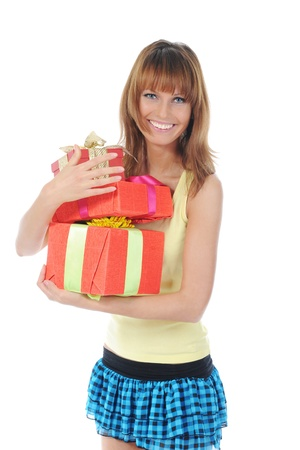 woman with a gift Stock Photo - 8735001
