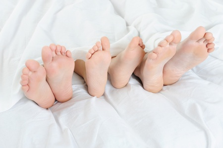 three women: Close-up of the feet