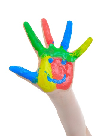 messy paint: Hand Painted Child Stock Photo