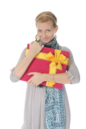 blonde with a gift photo