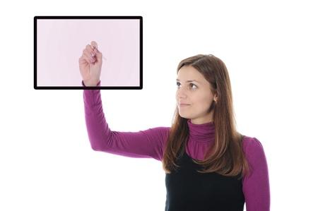 Businesswoman holding a pen photo