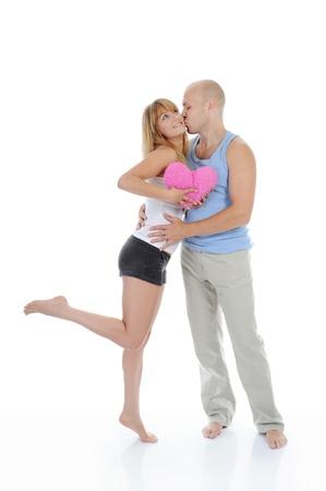 man kisses a girl photo