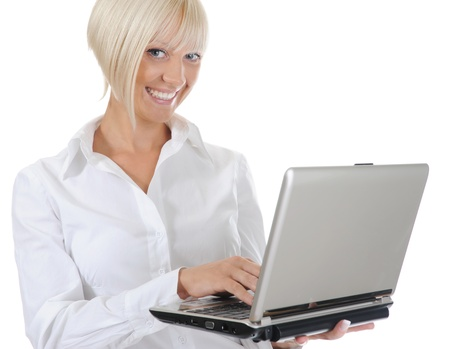 Blonde with a computer Stock Photo - 8880741