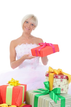 Bride with gifts photo