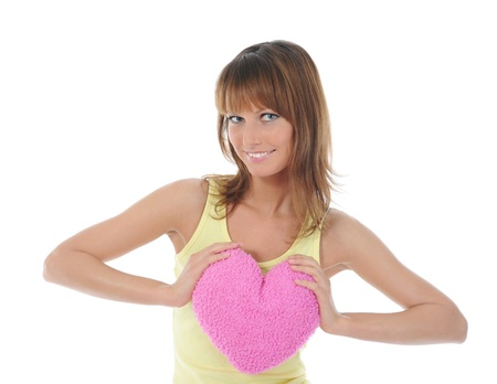 smiling woman with heart photo