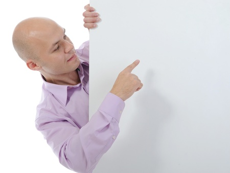 young man with blank sheet Stock Photo - 8880694