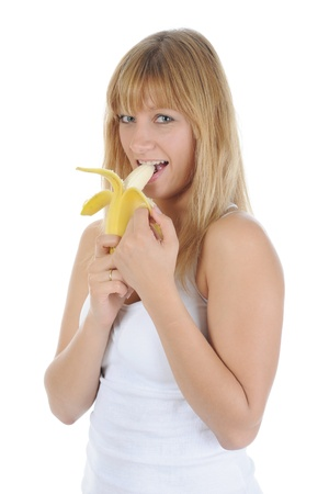 blonde girl with a banana. photo