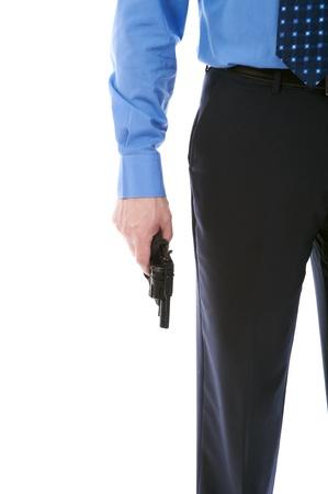 gun sight: man holding a gun