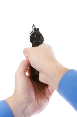 aiming: man holding a gun