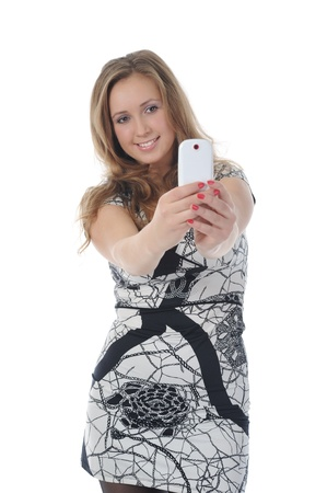 beautiful woman with a phone in his hand. Stock Photo - 8891741