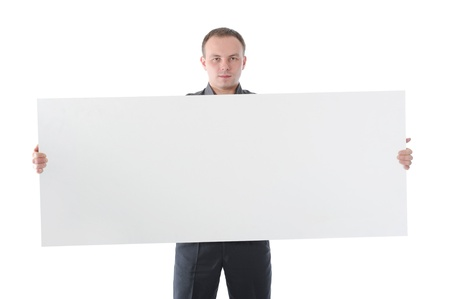 young man holding blank sheet Stock Photo - 8890587