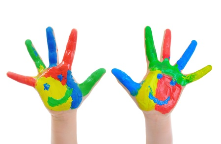 learning language: Hand Painted Child Stock Photo