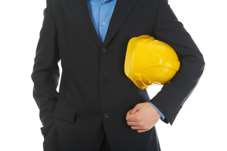 man with construction helmet photo