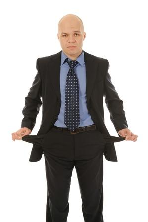 moneyless: man with empty pockets