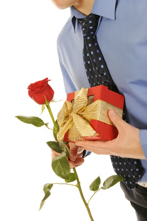 man with a gift box and a rose Stock Photo - 8891789
