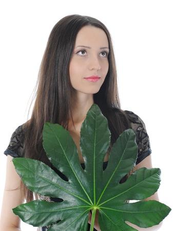 Woman with green leaf Lizenzfreie Bilder - 8891821
