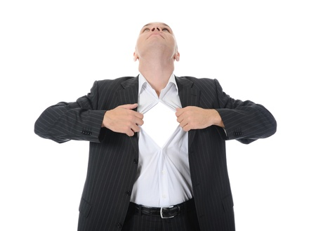 businessman tears open his shirt photo