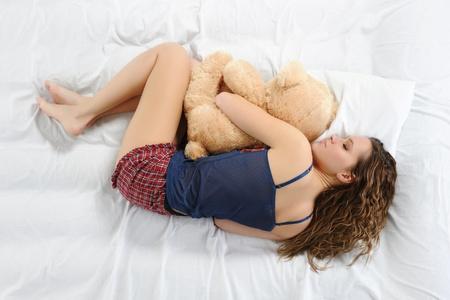 animalitos tiernos: Mujer joven con teddybear