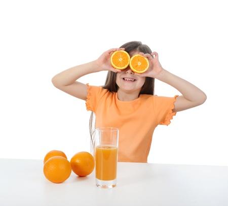 Girl with orange photo
