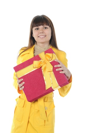 brunette with a gift photo