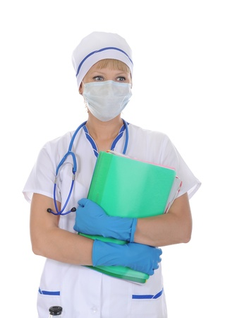 fonendoscopio: doctor in a mask with the documents.