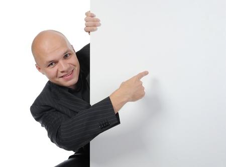 hoja en blanco: hombre joven con hoja en blanco Foto de archivo