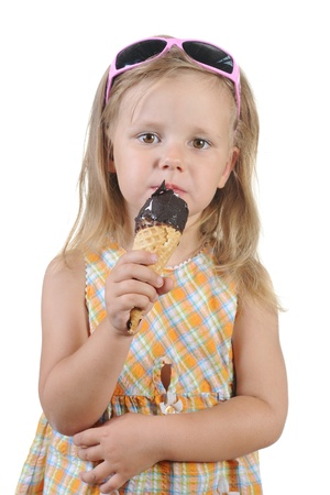 girl eating ice cream. photo