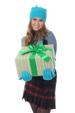 blonde with a gift Stock Photo - 8892105